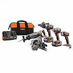 RIDGID 18-Volt GEN5X Cordless Lithium-Ion Combo Kit (5-Tool) with (2) 4.0Ah HYPER Lithium-Ion Batteries, Charger and Bag $299