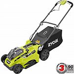 Ryobi 16 in. ONE+ 18-Volt Lithium-Ion Cordless Battery Walk Behind Push Lawn Mower Two 4.0 Ah Batteries and Charger Included $199