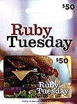 $50 Ruby Tuesday Gift Card $40, $50 Hotels.com Gift Card $42.50 and more