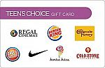 $50 Teen's Choice Gift Card (Nike, BK, Jamba Juice, Cold Stone Creamery, Regal Cinemas and more) $40