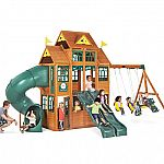 Falcon Ridge Swing Set by Kidcraft $1098, Battlezone Trampoline by Sportspower $199