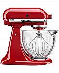 KitchenAid KSM105GBC 5 qt. Stand Mixer w/ Glass Bowl & Flex Edge Beater $179 and more