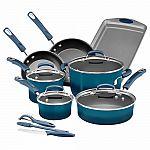 Kohl's Cardholders: 14-Pc Rachael Ray Brights Nonstick Cookware Set + $10 Kohls Cash $63
