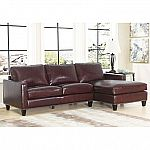 Sams Club Oliver Top-Grain Leather Sectional Sofa - Brown $1299 (save $1200)