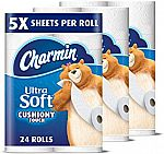 24-Ct Charmin Ultra Soft Toilet Paper (Family Mega Roll) $23.50 and More