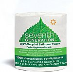 60-Pack Seventh Generation Bathroom Tissue, 1-Ply Sheets, 1000 Sheet Roll $22.90