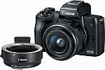 Canon EOS M50 Mirrorless Camera (Black) with EF-M 15–45mm f/3.5-6.3 IS STM Zoom Lens and Lens Mount Adapter $750 (Save $350)