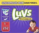 Luvs Ultra Leakguards Disposable Diapers: 198-Ct Size 3 / 148-Count Size 5 $19.93,