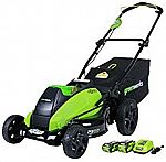 Greenworks 19-Inch 40V Brushless Cordless Lawn Mower with 4.0 AH & 2.0 AH Batteries $246.50