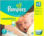 Pampers Swaddlers Diapers Size 1 (8-14 lb), 148 Ct $25.17