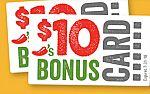 Buy $50 Chili's Gift Card online, Get $20 Bonus Gift Card