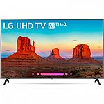 "LG 55UK7700PUD 55"" Class 4K HDR Smart LED AI UHD TV w/ThinQ (2018 Model) $599, LG SK8Y 2.1-Channel Hi-Res Audio Soundbar with Dolby Atmos $279"