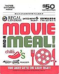 $50 Brinker-Regal Entertainment Movie & A Meal Gift Cards Combo $40