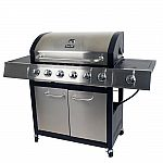 Dyna-Glo 6-Burner Open Cart Propane Gas Grill in Stainless Steel with Side Burner $199