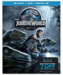 Jurassic World (Blu-Ray + DVD + Digital) Movie + $7 Off Atom Movie Tickets $7.50