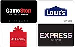 $50 Express Gift Card $40, $100 Lowes Gift Card $90, $100 BP Gas Gift Card $94, and more