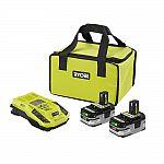 Ryobi 18V One+ 2-ct. Battery Starter Kit w/ Charger $99 + a Free Bonus Bare Tool