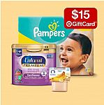 Get $15 Gift Card with purchase of $75+ Baby Diapers, Infant Formula, Training Pants & More