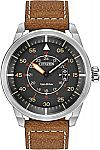 Citizen Men's Eco-Drive Stainless Steel Watch With Brown Leather Strap $55 (72% off) & More