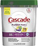 70-Count Cascade Platinum Plus Dishwasher Detergent Actionpacs (Lemon) $14 or Less