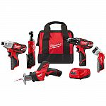 Milwaukee M12 12-Volt Lithium-Ion Cordless Combo Kit (5-Tool) with (2)1.5Ah Batteries, Charger and Tool Bag $199 (45% Off) and More