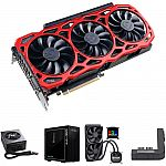 EVGA GeForce GTX 1080 Ti FTW3 ELITE GAMING RED Graphics Card Kit with PSU, Mid-Tower Case, CPU Cooler, & PowerLink Adapter $899