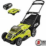 Ryobi 20 in. 40-Volt Brushless Lithium-Ion Cordless Battery Walk Behind Push Lawn Mower (w/ 5.0 Ah Battery/Charger) $249