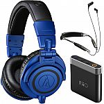 Audio-Technica ATH-M50x (Blue) + Klipsch R6 BT Neckband Headphones + FiiO A1 Amp $186