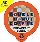 80-Count Double Donut Breakfast Blend Coffee K-Cups $18.71 or Less