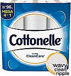 24 Mega Rolls Cottonelle Ultra CleanCare Toilet Paper, Strong Bath Tissue $14.75 or less