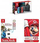 Nintendo Switch Console w/ Neon Blue & Red Joy-cons + Sandisk 64GB microSDXC UHS-1 Card + $20 Nintendo eShop eGift Card $300 (Prime Deal)