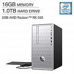 HP Pavilion Desktop (i5-8400 16GB 1TB Radeon RX 550) $499