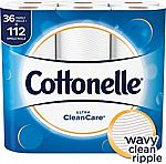36 Family Rolls of Cottonelle CleanCare Family-Roll Toilet Paper $18