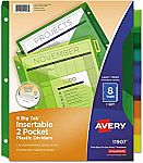 8-Tab Avery 11907 Insertable Big Tab Plastic Dividers w/Double Pockets $3.08 (Add-on Item)