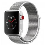 Apple Watch Series 3 GPS + Cellular - Silver Aluminum Case with Seashell Sport Loop (38mm)  $348, (42mm) for $378