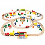 100pc Hand Crafted Wooden Train Set Triple Loop Railway Track $28.54