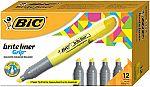 12-Count BIC Brite Liner Grip Highlighter (Chisel Tip, Yellow) $3.35 (org $11.40)