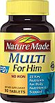 90-Count Nature Made Multi for Him Vitamin Tablets w/ D3 $2.69 and more