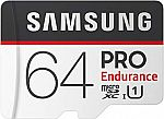 Samsung Pro Endurance 64GB Micro SDXC Card Adapter - 100MB/s U1 (MB-MJ64GA/AM) $29.99