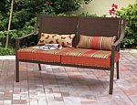 Mainstays Alexandra Square Patio Loveseat Bench (Orange Stripe) $74 and more