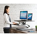 "Seville Classics AIRLIFT Pneumatic 30.7"" x 20.5"" Sit-to-Stand Adjustable Single Column Riser Desk Converter $119"