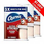 24 Family Mega Rolls Charmin Ultra Strong Clean Touch Toilet Paper $26.92