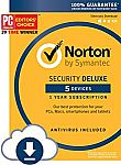 Norton Security Deluxe – 5 Devices – 1 Year Subscription $14.99
