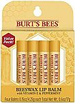 4-Pk Burt's Bees 100% Natural Moisturizing Lip Balm (Original Beeswax) $6.05