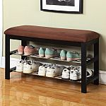 Roundhill Furniture Wood Shoe Bench $30