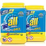 144-Count all Mighty Pacs Laundry Detergent $13