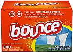 240-Count Bounce Fabric Softener and Dryer Sheets, Outdoor Fresh $3.52 + Free shipping