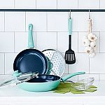 8-Piece GreenLife Diamond Ceramic Non-Stick Cookware Set (Turquoise) $20 + pickup
