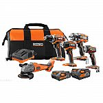 RIDGID 18-Volt Lithium-Ion Brushless Cordless 5-Tool Combo Kit $249 and more