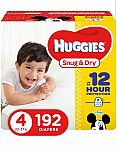 HUGGIES Snug & Dry Baby Diapers, Size 4, 192 Count $29.62